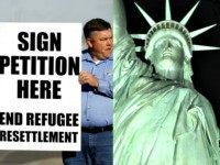 Man with End Refugee Resettlement Sign Reuters and Statue of Liberty AP