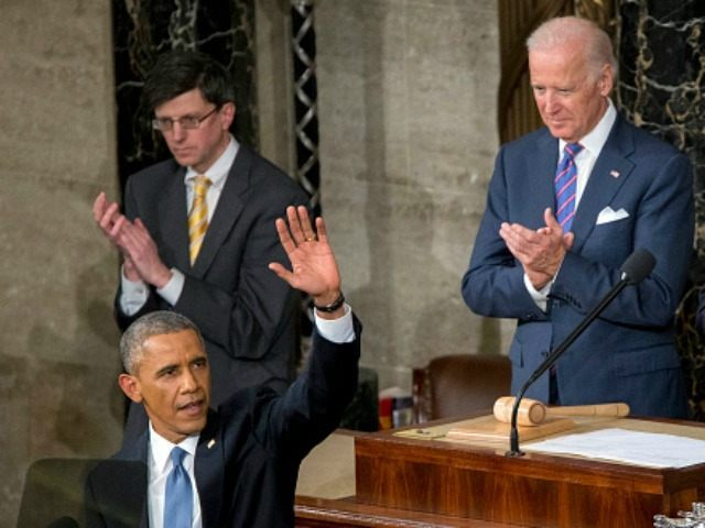 Barack Obama, front, waves as he arrives to deliver the State of the Union address to a joint session of Congress while U.S. Vice President Joseph 'Joe' Biden, second right, and U.S. House Speaker John Boehner, a Republican from Ohio, right, applaud at the Capitol in Washington, D.C., U.S., on …