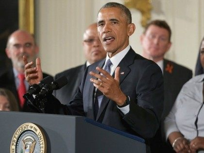President Barack Obama delivers remarks about his efforts to increase federal gun control in the East Room of the White House January 5, 2016 in Washington, DC. Without approval from Congress, Obama is sidestepping the legislative process with executive actions to expand background checks for some firearm purchases and step …