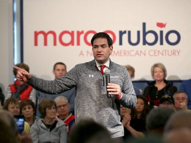SIOUX CITY, IA - JANUARY 30: Republican presidential candidate Sen. Marco Rubio (R-FL) speaks to guests and supporters during a campaign stop at Bev's On The River Restaurant on January 30, 2016 in Sioux City, Iowa. Rubio and other presidential hopefuls are in Iowa trying to gain support and crucial …