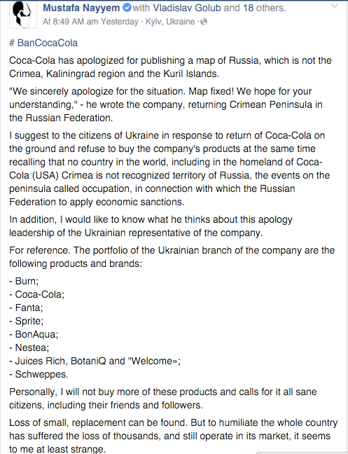 Legislator Mustafa Nayyem encourages Ukrainians to boycott Coke products.