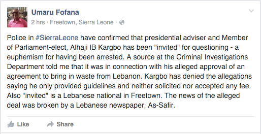 Journalist confirms police arrested the advisor.