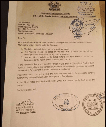 The letter from Kargbo agreeing to take Lebanon's trash.