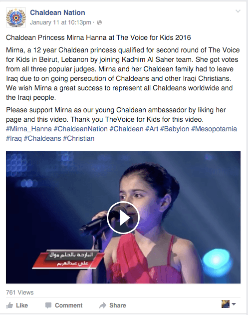 Chaldean Nation dubs Mirna as the Chaldean Princess after her amazing performance on The Voice Kids.
