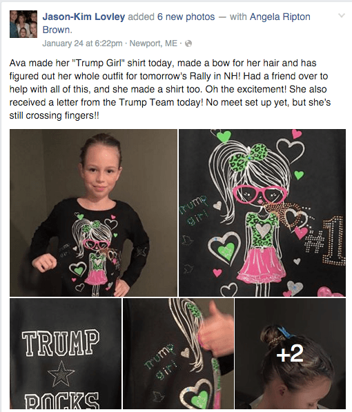 Ava proudly models her Trump Girl t-shirt