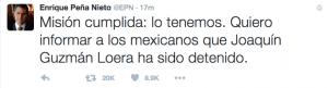 Mexican President Enrique Pena Nieto announced the capture of El Chapo via Twitter