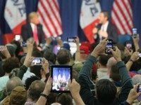 Republican presidential candidate Donald Trump speaks to guests during a campaign rally at the Gerald W. Kirn Middle School on January 31, 2016 in Council Bluffs, United States. Trump and other presidential hopefuls are in Iowa trying to gain support and crucial votes for tomorrow's caucuses.