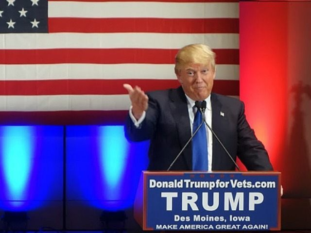 Donald Trump speaks during a campaign rally raising funds for US military veterans at Drake University in Des Moines, Iowa on January 28, 2016. US Republicans scrambling to win the first contest in the presidential nomination race were gearing for battle at high-profile debate in Iowa, but frontrunner Donald Trump …