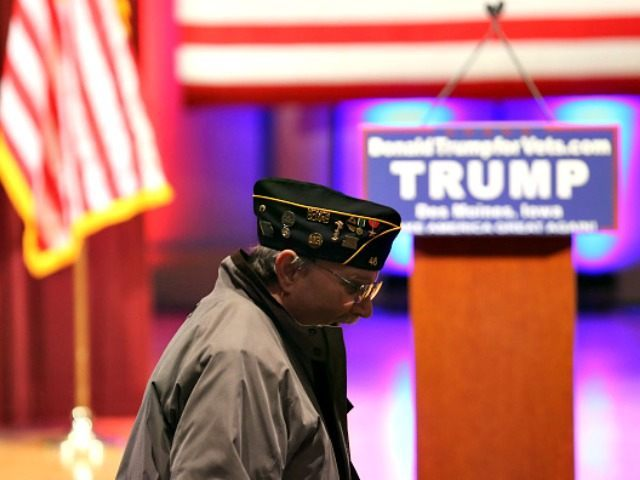 Republican presidential candidate Donald Trump speaks to veterans at Drake University on January 28, 2016 in Des Moines, Iowa. Donald Trump held his alternative event to benefit veterans after withdrawing from the televised Fox News/Google  GOP debate  which airs at the same time.