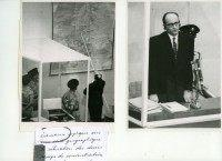 Nazi war criminal Adolf Eichmann shows on a map the locations of the extermination camps in Nazi-occupied Eastern Europe, during the first day of his 1961 trial in an Israeli court in Jerusalem