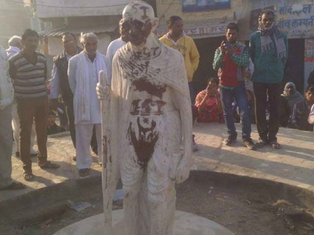 Gandhi statue in India defaced with Islamic State propaganda