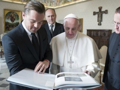 Leonardo DiCaprio has met Pope Francis at the Vatican on January 28, 2016 to discuss their shared concern about the environment and give him a cheque to use on charity works 'close to your heart'. Photo by Sipa USA (Sipa via AP Images)
