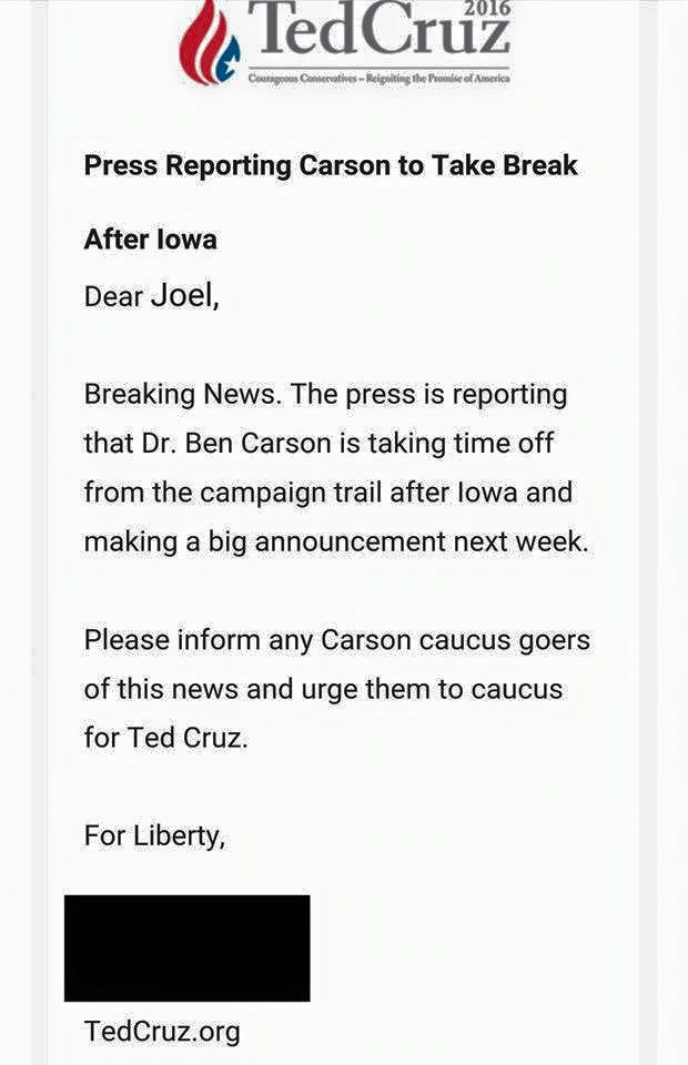 Cruz email on Carson (Facebook)