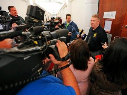 Tarrant County Sheriff Dee Anderson talks with reporters after Tonya Couch, mother of Ethan Couch, appeared before state District Judge Wayne Salvant on Jan. 8, 2016 in Fort Worth, Texas. (Rodger Mallison/Fort Worth Star-Telegram/TNS)