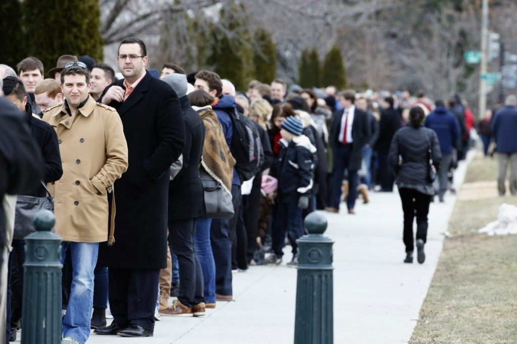 Thousands of mourners stand in line waiting to pay their respects on Friday for Justice Antonin Scalia as his casket rests in the Great Hall of the Supreme Court, where he spent nearly three decades as one of its most influential members. (AP Photo/Alex Brandon)