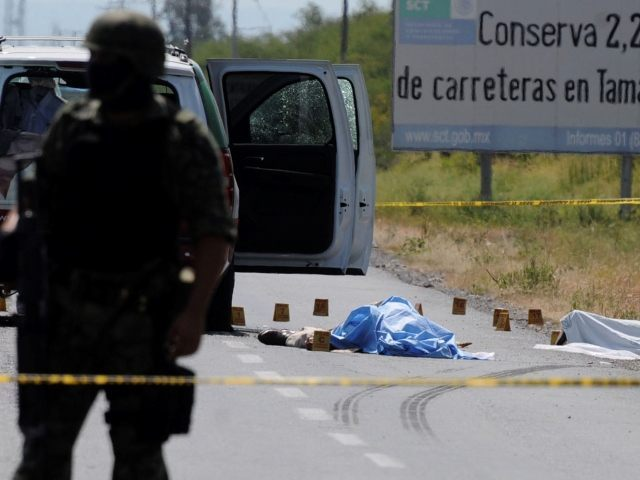 An army soldier stands guard at the crime scene where the candidate for governor of the state of Tamaulipas, Rodolfo Torre, was ambushed by unidentified gunmen near the city of Ciudad Victoria, Mexico, Monday June 28, 2010. Gunmen assassinated the front-running candidate and several of his aides in what Mexico's …