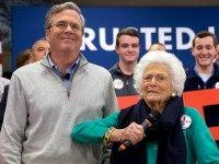 Barbara Bush, right, jokes with her son, Republican presidential candidate, former Florida Gov. Jeb Bush, while introducing him at a town hall meeting at West Running Brook Middle School in Derry, N.H., Thursday Feb. 4, 2016.
