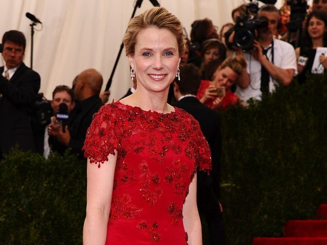 """Marissa Mayer, president and CEO of Yahoo!, arrives at The Metropolitan Museum of Art's Costume Institute benefit gala celebrating """"China: Through the Looking Glass"""" on Monday, May 4, 2015, in New York. (Photo by Charles Sykes/Invision/AP)"""