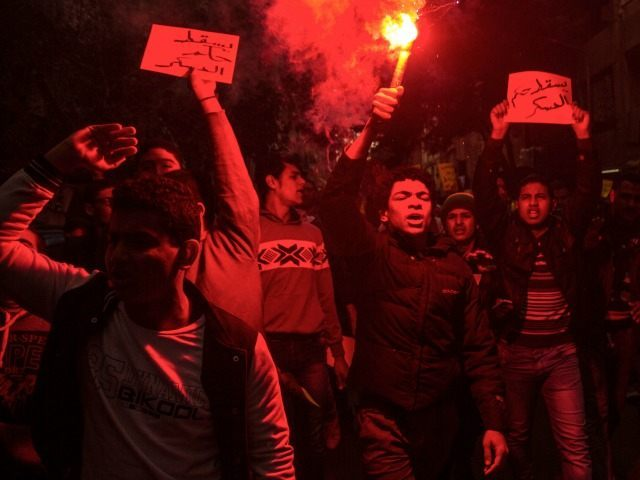Supporters of the ousted Islamist President Mohamed Morsi chant anti-government slogans, in the Faysal district of Cairo, Egypt, Monday, Jan. 25, 2016. The Muslim Brotherhood is the only group who have called on its supporters to take to the streets this Monday, the anniversary of the 2011 uprising that ousted …