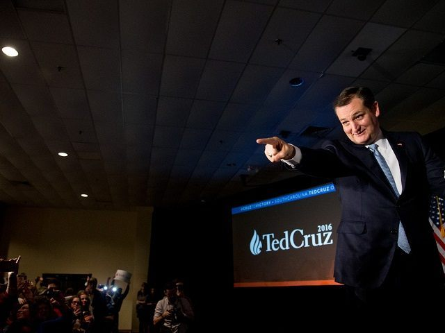 Republican presidential candidate, Sen. Ted Cruz, R-Texas, arrives for a South Carolina primary night rally at the South Carolina State Fairgrounds in Columbia, S.C., Saturday, Feb. 20, 2016. (AP Photo/Andrew Harnik)