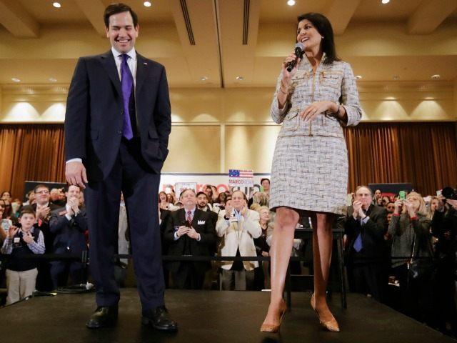 Sen. Marco Rubio, R-Fla. is introduced by South Carolina Gov. Nikki Haley, Monday, Feb. 29, 2016.