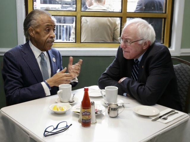 The Rev. Al Sharpton, left, talks with Democratic presidential candidate Sen. Bernie Sanders, I-Vt. as they sit down for a breakfast meeting at Sylvia's Restaurant, Wednesday, Feb. 10, 2016, in the Harlem neighborhood of New York. Sanders defeated former Secretary of State Hillary Clinton on Tuesday in the New Hampshire …