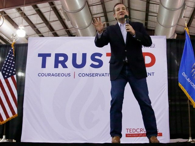Republican presidential candidate, Sen. Ted Cruz, R-Texas, gestures as he speaks to a rally in Tulsa, Okla., Sunday, Feb. 28, 2016.