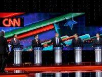 Moderator Wolf Blitzer, Republican presidential candidates, retired neurosurgeon Ben Carson, Sen. Marco Rubio, R-Fla., businessman Donald Trump, Sen. Ted Cruz, R-Texas, and Ohio Gov. John Kasich participate in a Republican presidential primary debate at The University of Houston, Thursday, Feb. 25, 2016, in Houston.