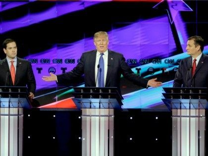 Republican presidential candidate, businessman Donald Trump, speaks as Republican presidential candidate, Sen. Marco Rubio, R-Fla., left, and Republican presidential candidate, Sen. Ted Cruz, R-Texas, right, look on during a Republican presidential primary debate, Thursday, Feb. 25, 2016, in Houston.