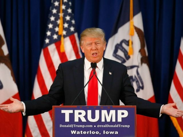 Republican presidential candidate Donald Trump speaks during a campaign event, Monday, Feb. 1, 2016 in Waterloo,