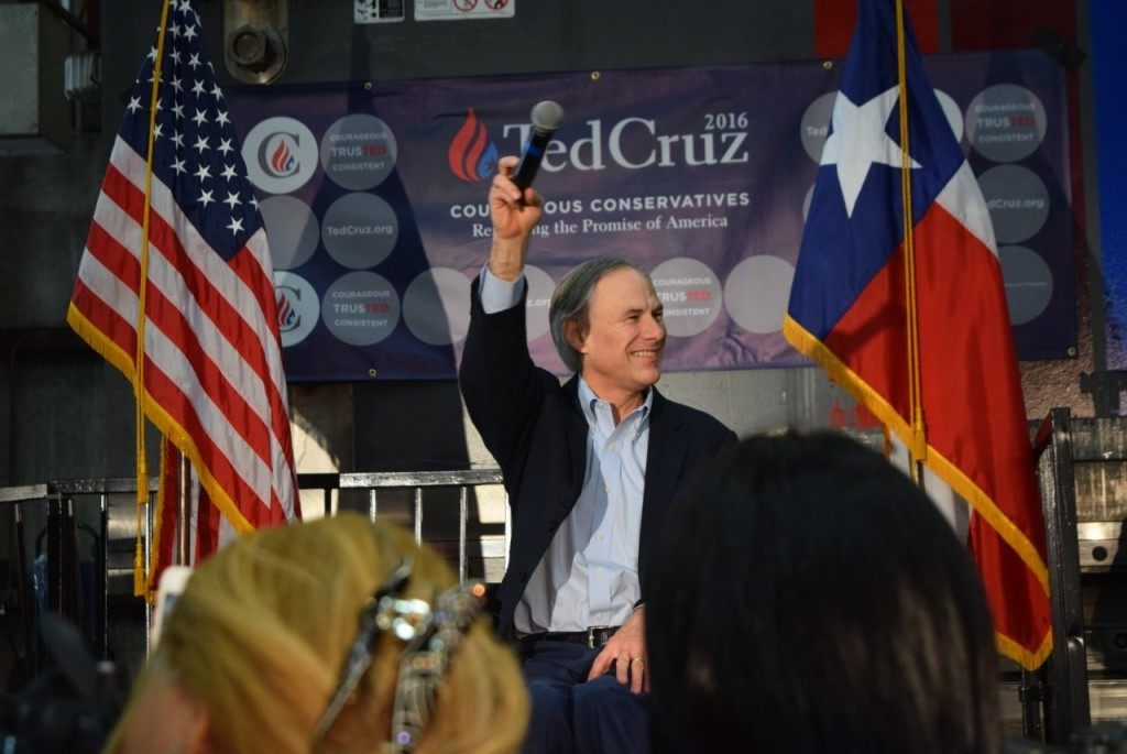 Texas Governor Greg Abbott speaks to a cheering crowd in Houston while endorsing Senator Ted Cruz for President. (Photo: Breitbart Texas/Lana Shadwick)