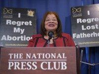Alveda King, head of African-American Outreach for Priests for Life, speaks during a press conference announcing the 'Healing the Shockwaves of Abortion' project on January 8, 2015 in Washington, DC.