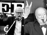Bernie Sanders B&W Winston Churchill AP Photos