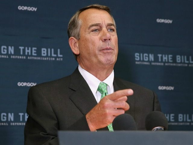 Speaker of the House John Boehner (R-OH) calls on reporters during a news conference following the weekly House GOP conference meeting in the U.S. Capitol October 21, 2015 in Washington, DC.