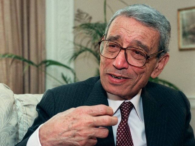 FILE - In this May 27, 1997 file photo, former United Nations Secretary-General Boutros Boutros-Ghali gestures during an interview with the Associated Press on Wednesday, May 21, 1997 in New York. he U.N. Security Council has announced on Tuesday, Feb. 16, 2016 the death of former U.N. Secretary-General Boutros Boutros-Ghali.(AP Photo/Michael Schmelling, File)