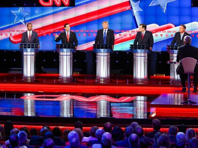 Marco Rubio, second to left, answers a question during the Republican Presidential Primary Debate at the University of Houston Thursday, Feb. 25, 2016. (