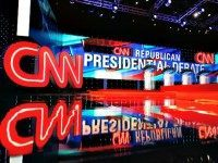 The main stage is seen prior to the start of the CNN GOP Presidential Debateon February 25, 2016 in Houston, Texas.