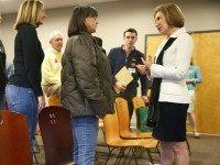 STRATHAM, NH - FEBRUARY 03:  Republican presidential candidate Carly Fiorina greets people during a Timberland Town Hall at the Timberland Global Headquarters on February 3, 2016 in Stratham, New Hampshire. Democratic and Republican Presidential are stumping for votes throughout New Hampshire leading up to the Presidential Primary on February 9th.  (Photo by )