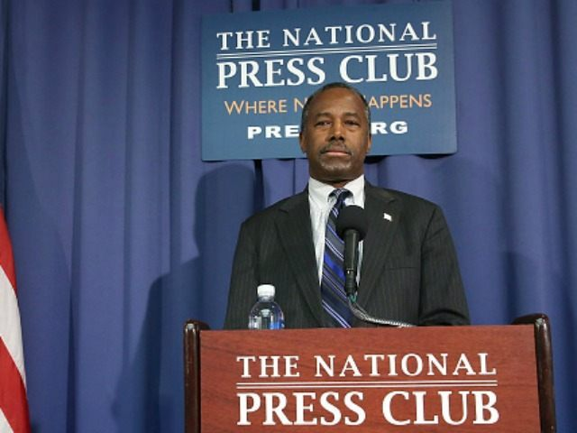 WASHINGTON, DC - FEBRUARY 03:  Republican Presidential candidate Dr. Ben Carson speaks to the media at the National Press Club February 3, 2016 in Washington, DC. Carson talked about unfair campaign tactics leading up to Monday's Iowa caucus.  (Photo by