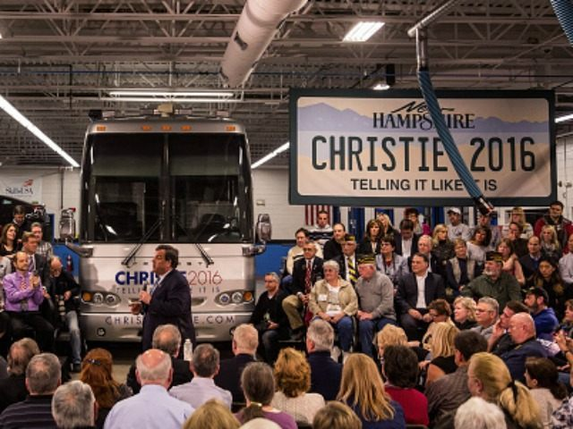 Republican presidential hopeful New Jersey Governor Chris Christie answers questions at the town hall at Nashua Community College on February 1, 2016 in Nashua, New Hampshire. The New Hampshire primary is next week, February 9, 2016. (Photo by )