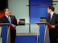 Republican presidential candidates (L-R) New Jersey Governor Chris Christie and Sen. Marco Rubio (R-FL) participate in the Fox Business Network Republican presidential debate at the North Charleston Coliseum and Performing Arts Center on January 14, 2016 in North Charleston, South Carolina.