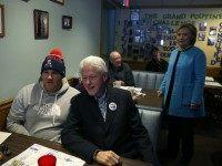 MANCHESTER, NH - FEBRUARY 08: Democratic presidential candidate former Secretary of State Hillary Clinton (R) and her husband, former U.S. president Bill Clinton, greet patrons at Chez Vachon on February 8, 2016 in Manchester, New Hampshire. With one day to go before the New Hampshire primaries, Hillary Clinton continues to …
