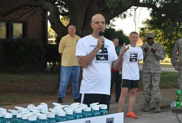 Col. Starr speaking at 2015 Dyess Pride Race kickoff. (Photo: Facebook/Dyess Pride Alliance)