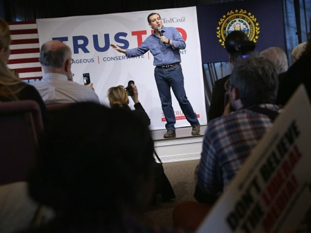 Republican presidential candidate Sen. Ted Cruz (R-TX) answers questions during a campaign town hall meeting at the Crossing Life Church February 2, 2016 in Windham, NH.