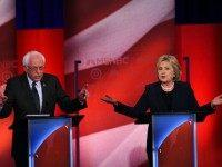 Democratic presidential candidates Hillary Clinton (R) and Bernie Sanders participate in the MSNBC Democratic Candidates Debate at the University of New Hampshire in Durham on February 4, 2016.