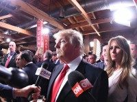 Donald Trump spin room (Rainier Ehrhardt / Associated Press)