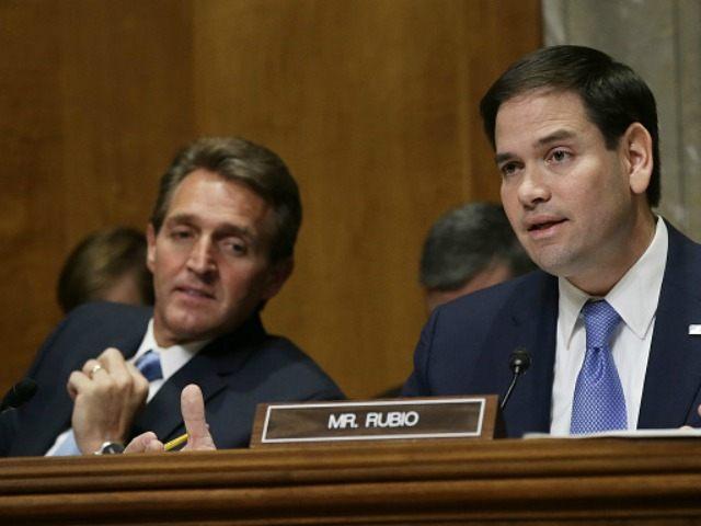 Sen. Jeff Flake (L) (R-AZ) looks on as Sen. Marco Rubio (R) speaks February 3, 2015 in Washington, DC.