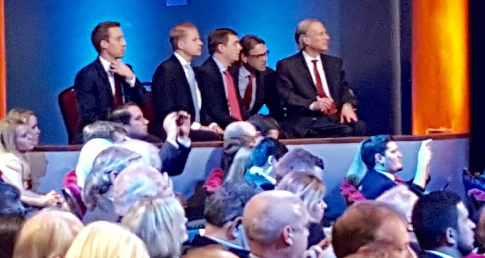 Former Texas Governor Rick Perry joins Governor Greg Abbott during the Houston GOP Presidential Debate. (Photo Courtesy of Texas State Senator Paul Bettencourt)