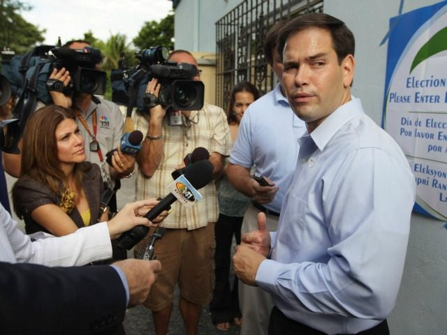 MIAMI - AUGUST 24: Marco Rubio, Republican candidate for Florida's U.S. Senate seat, speaks to the media after voting as he and other Floridians head to the polls on primary day on August 24, 2010 in Miami, Florida. Rubio will face off against the Independent candidate, current Florida Gov. Charlie Crist, and the winner of the Democratic race, which pits Rep. Kendrick Meek (D-FL) against Jeff Greene.  (Photo by Joe Raedle/Getty Images)