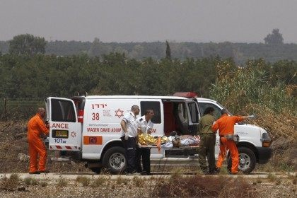 An Israeli rescue team evacuates an injured soldier following clashes which erupted along the northern Israeli border with southern Lebanon on August 03 2010 involving Lebanese and Israeli troops.